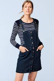buy dark denim pinafore dress from the next uk online shop