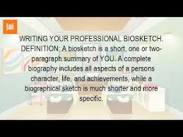 what is a brief biographical sketch youtube