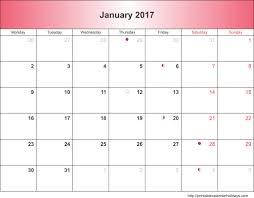 Blank January 2017 Calendar Templates Printable PDF