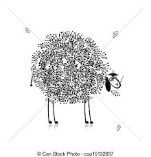vectors of funny sheep sketch for your design csp15132837