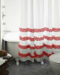 Red White Shower Curtain White Shower Curtain With Red Ticking Stripe Rows Of Ruffles