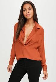 oversized blouse orange chiffon oversized shirt missguided