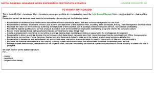 hotel general manager work experience certificate