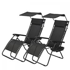 Black Patio Chair New 2 Pcs Zero Gravity Chair Lounge Patio Chairs With Canopy Cup