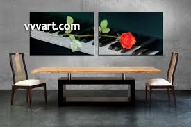 Dining Room Art Decor by 2 Piece Black Canvas Piano Music Wall Decor
