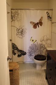 contemporary bathroom with west elm butterfly shower curtain and