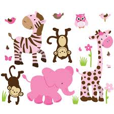 pink green jungle nursery wall decals for children pink green jungle wall art for play rooms