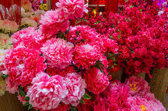 New Year Flower Decoration by Chinese New Year Decoration Artificial Flowers Stock Photo