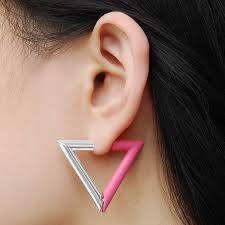 magnetic earrings magenta geometric triangle magnetic earrings by jasper opal
