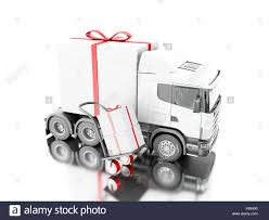 presents delivery 3d illustration truck delivering a gift box with truck stock