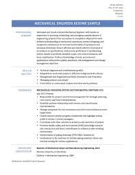 Sample Resume Objectives For Mechanical Engineer by Marvelous Sample Resume For Mechanical Engineers About Resume