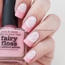 pink white lace bridal nail arts fashion fuz
