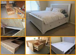diy storage bed with storage drawers beesdiy com