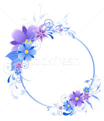 blue banner with flowers leaves and ornament vector illustration