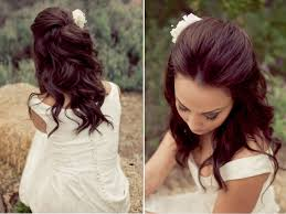 pretty down hairstyles for prom twisted curly half updo prom