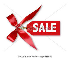 ribbon sale sales tag with big ribbon bow on white with shadow stock