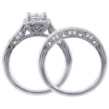 Wedding Rings Princess Cut by 1 Carat Vintage Princess Cut Diamond Wedding Ring Set For Women