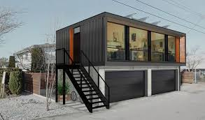 home design nice shipping container cabin with black paint wall