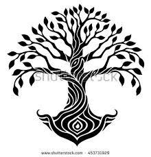 tree symbol vector illustration decorative tree life seed stock vector