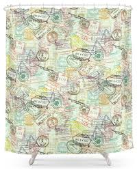 society6 passport stamps shower curtain contemporary shower