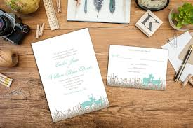 Wedding Invitation Response Card Grazing Deer Wedding Invitation Set Wedding Invitation And