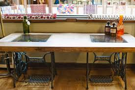 sewing machine table ideas makeover diy scaffold board topped singer sewing machine tables