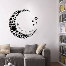 crescent moon star living room bedroom pvc art vinyl mural