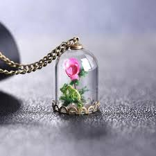 rose glass necklace images Beauty and the beast magical rose in the glass dome necklace jpg