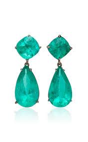 emerald drop one of a 18k black gold emerald drop earrings by lorraine
