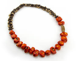 beaded coral necklace images Coral and wood necklace big beaded tribal necklace statement