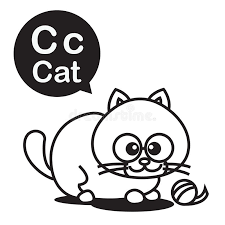 c cat cartoon and alphabet for children to learning and coloring