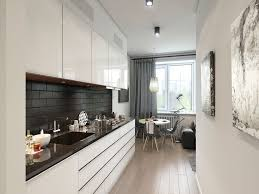 kitchen marvelous narrow white galley kitchen design with small