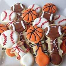 football themed baby shower baseball football and basketball cookies boy baby shower