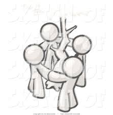 drawing of sketched family design mascots standing in a circle