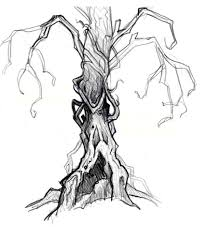 scary halloween tree drawing