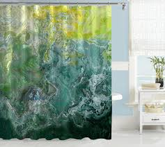 Teal Curtains Abstract Shower Curtain Green Aqua Blue Blue Green Yellow Green