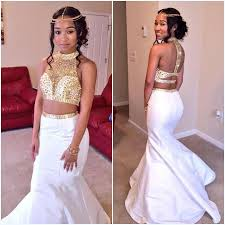 gold and white two piece prom dress 2016 custom made new mermaid