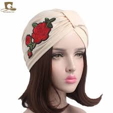 headband wrap 2017 new women stretchable cotton turban hat with flower