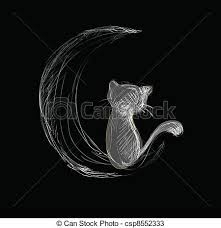 cat on moon surprised at the black cat lying on the moon clipart