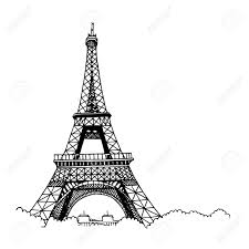 hand drawn eiffel tower simple sketch style black contour