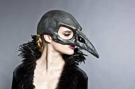 crow mask halloween bird skull mask in a black graphite finish