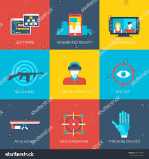 flat icons set virtual augmented reality stock vector 220144903