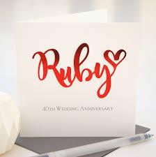 anniversary card ruby 40th wedding anniversary card shop online hummingbird card