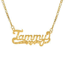 gold name plate necklace personalized 14k gold sterling silver diamond cut nameplate