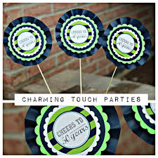 40th birthday party decor navy blue and green masculine