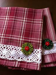 Kitchen Towel Craft Ideas Plaid Dishtowel With Lace And A Yoyo Sewing Towels Pinterest