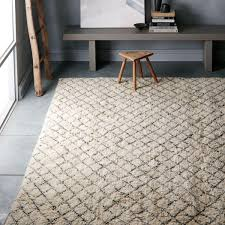 watercolour trellis wool shag rug ivory west elm uk