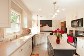epic small galley style kitchen decoration using red flower