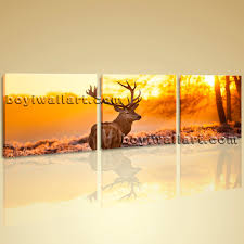 decor wall art pictures canvas print landscape animal deer morning
