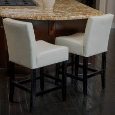 Leather Bar Stool With Back Furniture Square White Leather Bar Stools With Back Having Black